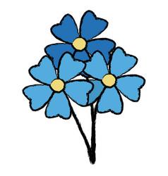 Blue bunch flower decoration natural ornament vector