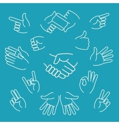 Business hand gestures linear icons vector