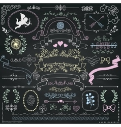 Chalk Drawing Rustic Floral Design Elements vector image vector image