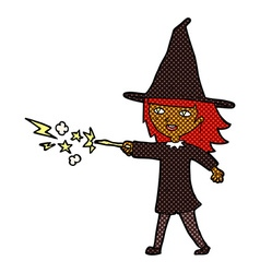 comic cartoon witch girl casting spell vector image