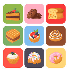 cookie cakes tasty snack delicious chocolate vector image vector image