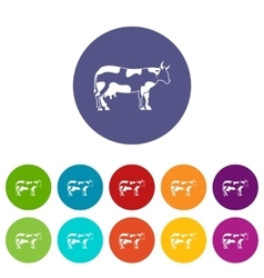 Cow set icons vector image vector image