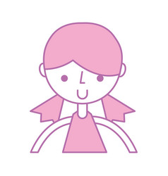 Cute upper body girl cartoon vector