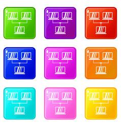 Exchange of data between computers icons 9 set vector