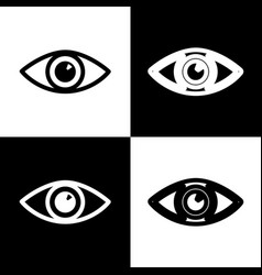 Eye sign black and white vector