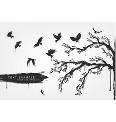 figures of flying birds trees in grunge style vector image vector image