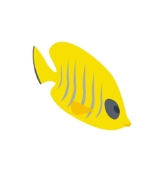 Fish yellow tang icon isometric 3d style vector