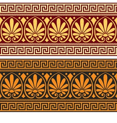 Frieze with vintage golden and blue greek ornament vector