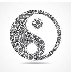 Group of gear make ying and yang symbol vector image