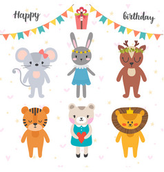 happy birthday design with cute cartoon animals vector image