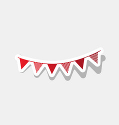 Holiday flags garlands sign new year vector