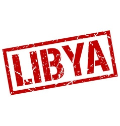 Libya red square stamp vector image vector image