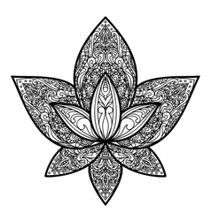 Lotus tattoo sign vector