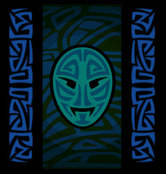 Maori mask with tribal pattern vector