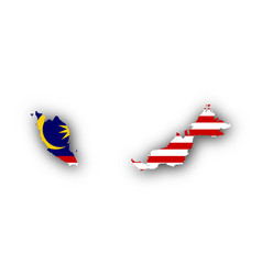 Map and flag of malaysia vector