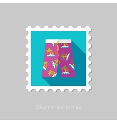 Men Beach Shortsl flat stamp with long shadow vector image