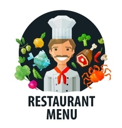 menu restaurant logo design template chef vector image vector image