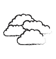 monochrome blurred silhouette with set of clouds vector image vector image