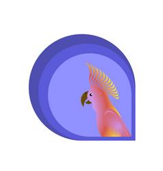Pink cockatoo parrot bird logo design vector