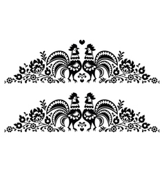 Polish floral folk art long embroidery pattern vector image