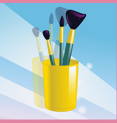 Realistic mockup glass and makeup brushes vector