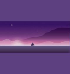 Sailing yacht on the horizon landscape sunset vector