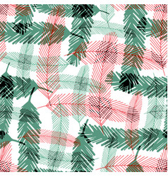 Seamless pattern with green and red fir tree vector