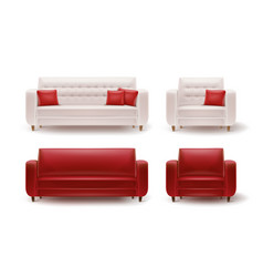 Set of armchairs with sofas vector