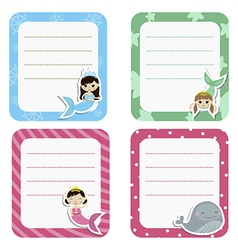 Set of cute creative cards with girl mermaids vector image