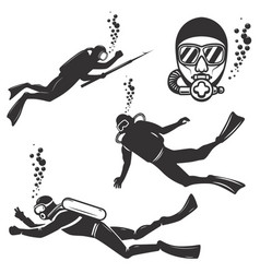 set of diver icons isolated on white background vector image vector image