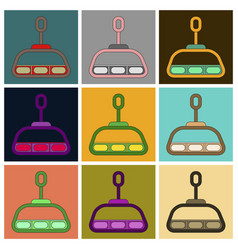 Set of icons in flat design cabin ski lift vector