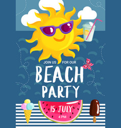 summer beach party poster vector image vector image