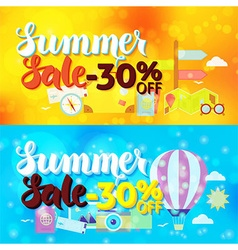 Summer sale 30 off web banners over travel blurred vector