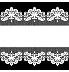 White lace on black background vector
