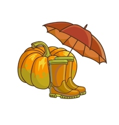 Autumn or fall concept with rain boots vector