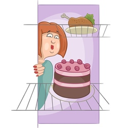 Hungry woman on diet cartoon vector