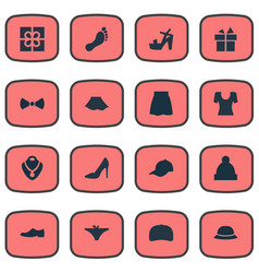 Set of simple clothes icons vector