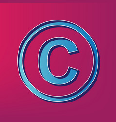copyright sign   blue 3d vector image