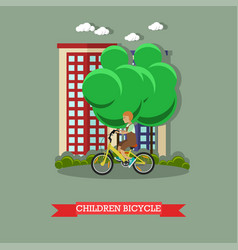 A kid riding bicycle in vector
