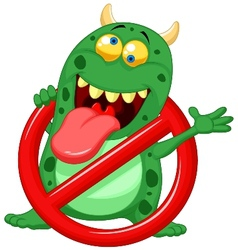 Cartoon stop virus - green virus in red alert sign vector