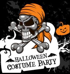 Halloween poster costume party skull vector