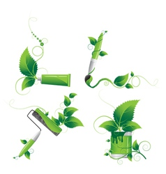Painting tools and plants vector