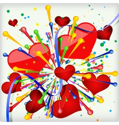 Abstract holiday background of explosion heart vector