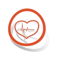 Cardiology sign sticker orange vector