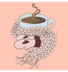 Cup of cocoa and pink scarf vector