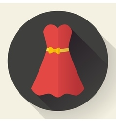 Red dress - classic fashion icon in the flat vector