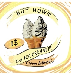 Ice cream with price popsicle on a white vector