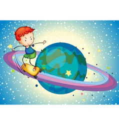 a boy on a planet vector image vector image