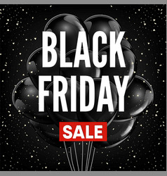 Black friday sale discount promo balloons red vector