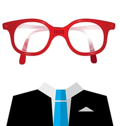 Blue tie suit with empty face glasses vector